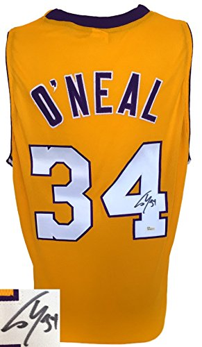 Shaquille O'Neal Signed Custom Yellow Pro-Style Basketball Jersey JSA - Authentic Autograph