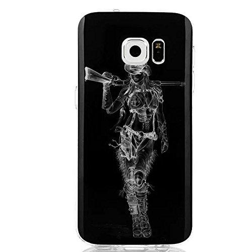 Galaxy S7 Case, Dobbytech Premium Durable Anti-slip Cover Protective Lightweight Slim Fit Shock Absorbing Shatterproof Anti-scratches Soft TPU Case for Samsung Galaxy S7 (Gun Girl)