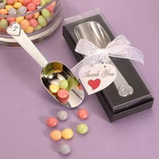 Chrome Candy Scoop Wedding Favors in Deluxe Gift Box, 12