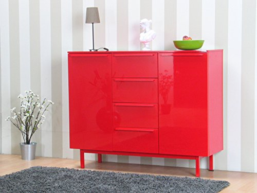 Design-Highboard-New-York-Anrichte-Kommode-Sideboard-Schrank-Mbel-Hochglanz-rot