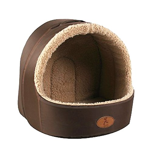 Deluxe Soft Pet Pets Bed Dog Puppy Cat Kitten Bed House Sleeping Warm Mat Cave Igloo (A, S)