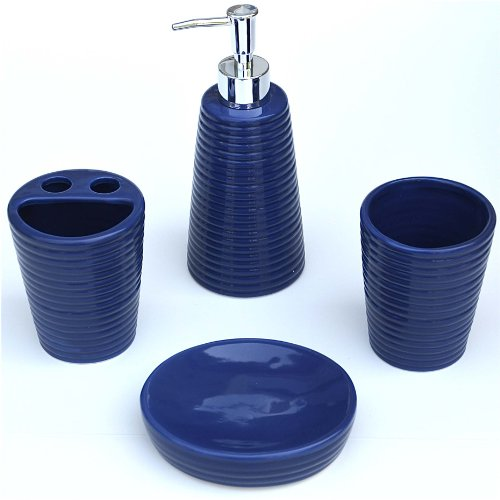 4 Piece Bathroom Ceramic Accessory Set: Lotion/Liquid Soap Dispenser, Tumbler, Toothbrush Holder, Soap Dish: BLUE RIBBED STYLE