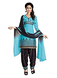 Pandadi Creation Women's Cotton Sky Blue Color Patiyala Unstiched Dress Material with Naznin Dupatta ( Rs.50 Off )
