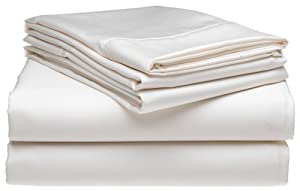 600-Thread-Count Wrinkle Free Queen Sheet Set, White