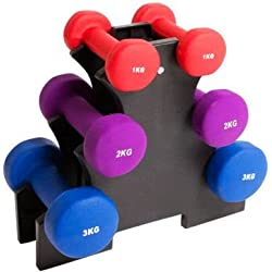 Palm Springs Dumbbell Weights Set with Stand 12kg