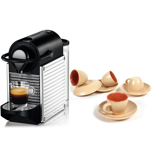 Nespresso C60 Pixie Chrome Automatic Espresso Machine With Free 8 Piece Goldenrod And Melon Retro Cup And Saucer Set