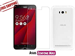 Unistuff™ Asus Zenfone Max [COMBO OFFER] Kristal Clear PRO+ Tempered Glass and Rubberised Flexible Back Case Cover Accessory Combo (Transparent)