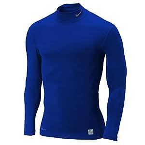 NIKE T-shirt à manches longues pour homme Pro Core Compression Mock Bleu Bleu royal/gris XX-Large