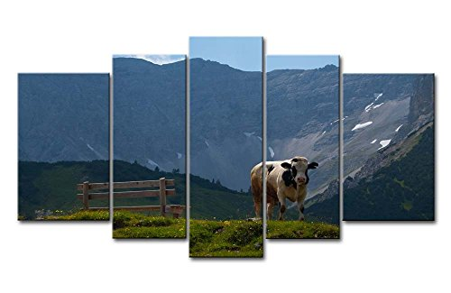 Blue 5 Piece Wall Art Painting Karwendel A Cow Bench Grass Mountain Pictures Prints On Canvas Landscape The Picture Decor Oil For Home Modern Decoration Print For Bedroom