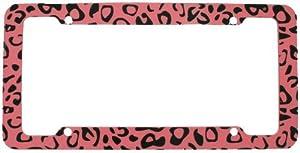License Plate Frame - Car Truck SUV - Leopard Light Pink Animal Print