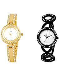 Watch Me WHITE Combo Set Of 2 Analogue Watches Gift For WOMEN WMAL-121G-114