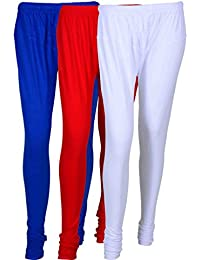 Cotton Leggings (Culture The Dignity Women's Cotton Leggings Combo Of 3_CTDCL_B1RW_BLUE-RED-WHITE_FREESIZE)