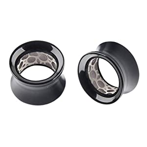 Body Piercing Jewelry One Pair (2pcs) Acrylic Internal Double Flared Ear Flesh Tunnel Plugs Platinum Color PoPo Pattern 9/16