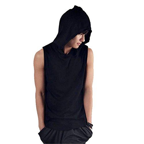 Finejo 2 Colors Men Slim Fit Sport Casual Hooded Vest Sleeveless Hoodies T-shirt Tops mint green casual sleeveless hooded top
