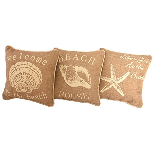 Beach House Faux Burlap Accent Pillow Set of 3 - 10-in Square (Beach House Pillows compare prices)