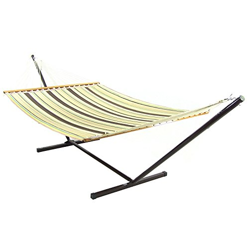 Sunnydaze Brown/Tan Double Fabric Hammock