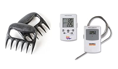 Maverick ET73 Wireless BBQ Meat Thermometer - White - Monitors Meat & Barbecue/Grill/Smoker Temperature Simultaneously - 100 FT Range - FREE pair of the original, award-winning BEAR PAWS ($14.95 added value)
