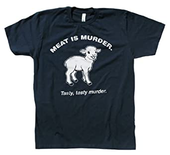 Rocket Factory Funny Meat is Murder T-shirt-Navy-Small