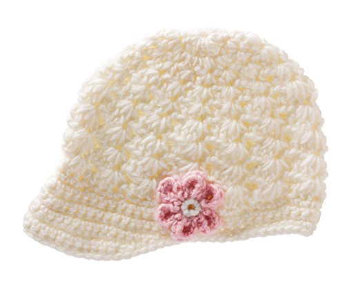 White Flower Newsboy Brimmed Knit Cap One Size front-919322