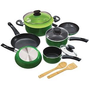Green Ceramic Cookware Ecolution Elements 12 Piece