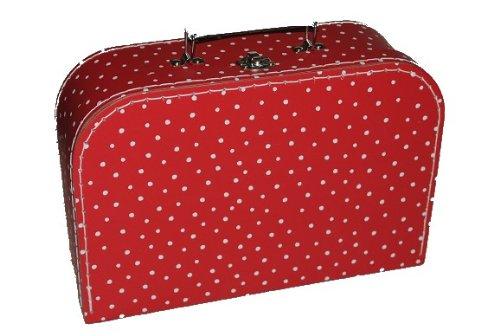 Kinderkoffer MITTEL rot weiße Punkte Puppenkoffer