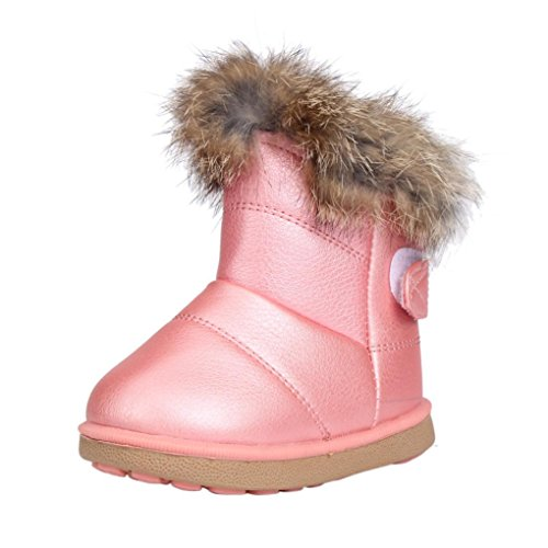 Muxika Winter Baby Girl Cute Waterproof Warm Leather Shoes Martin Boot Outwear (Age:1-2 Years, Pink)