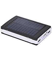 Reliable High Performance 13000 mAh 20 LED Solar Power Bank With Fast Charging - Black