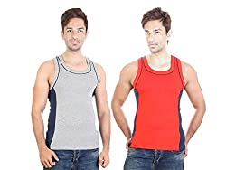 Bodysense Grey & Red Men's Cotton Gym Vest ( Pack of 2 )