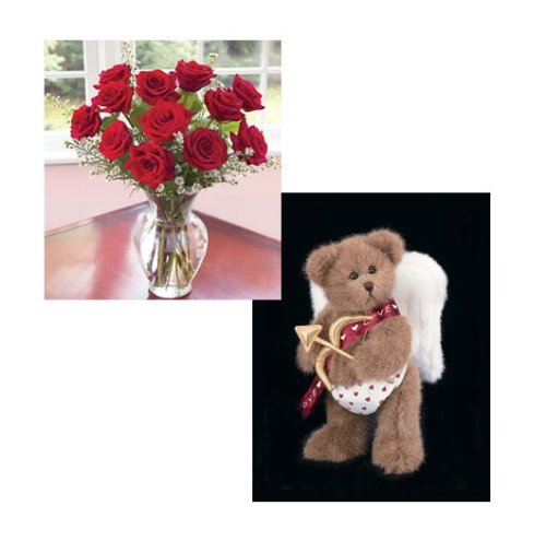 One Dozen Premium Red Roses plus Bearington Valentine Bear - Guaranteed Delivery by Valentine's Day