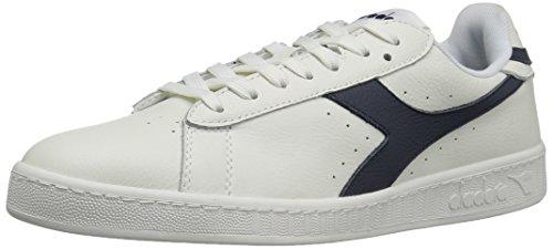 Diadora Men's Game L Low Waxed Court Shoe, White/Blue Caspian Sea, 8.5 M US