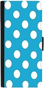 Snoogg Blue Polka Dot Graphic Snap On Hard Back Leather + Pc Flip Cover Samsu...