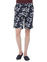 Zobello Men's Printed Summer Twill Shorts(31098D_Palm Leaves Print_31)
