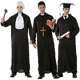 Toga nera per travestimento laureato prete o giudice con colletto intercambiabile