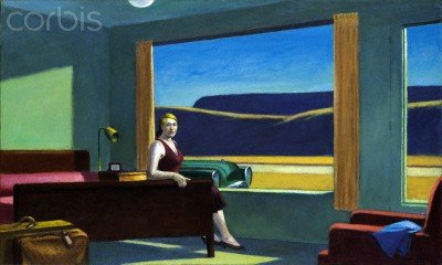 "Wallmonkeys Peel and Stick Wall Decals - Western Motel by Edward Hopper - 24""W x 14""H Removable Graphic"