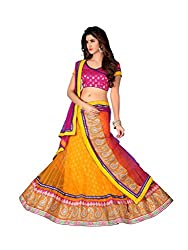 Indian Styles Orange Pink Net Lehenga