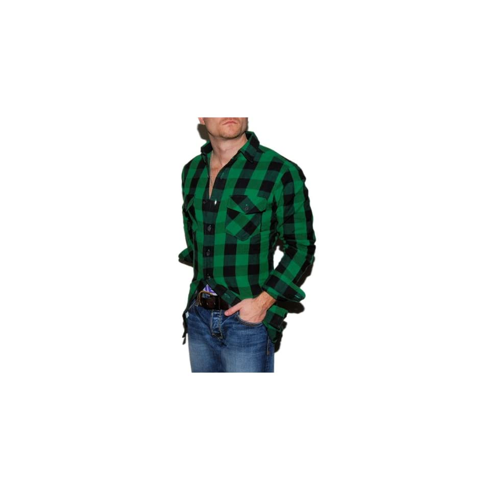 Polo Ralph Lauren Mens Flannel Plaid Shirt Green Black On