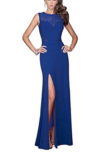 Viwenni Women's Floral Lace Long Evening Wedding Bodycon Cocktail Party Dress (Small, Blue)