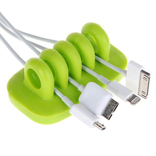 LISEN® Cordies Desktop Cable Management Desktop Cord Clips&Anchor For Power Cords And Charging Accessory Cables,Green Color, 2 Pack