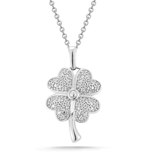 Sterling Silver Four-Leaf Clover with Diamond-Accent Pendant Necklace (0.10 cttw, I-J Color, I2-I3 Clarity), 18