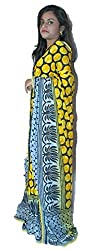 Aradhya Women's Multi-colour Printed Crepe Saree with Blouse Piece