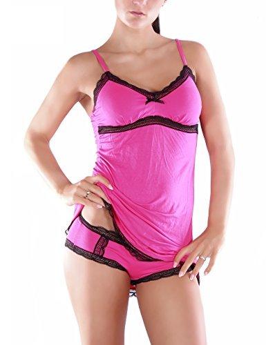 Negligee SET Babydoll Top Hipster Baumwolle Pink günstig bestellen