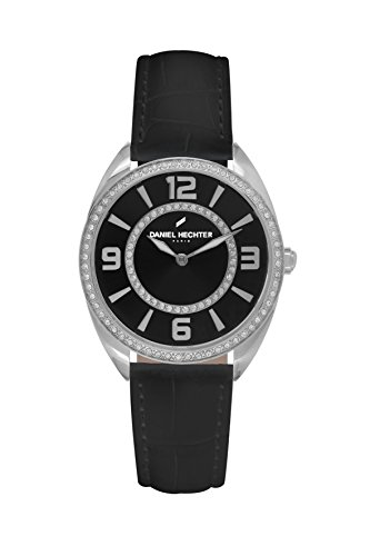 Daniel Hechter-DHD 014S AA/Women's Quartz Analogue Watch-Black Face-Black Leather Strap