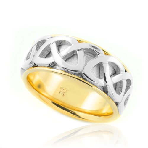 Fine 18K White And Yellow Gold Infinity Knot Band Celtic Wedding Ring