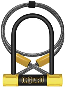 OnGuard Bulldog Mini DT U-Lock with 4-Inch Cinch Loop Cable (Black, 3.55 x 5.52-Inch)