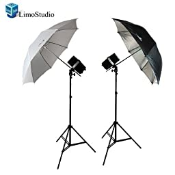 LimoStudio 400 Watt Two Photo Studio Monolight Strobe Flash Umbrella Lighting Kits - 2 Studio Flash/Strobe, 2 Umbrellas, AGG338