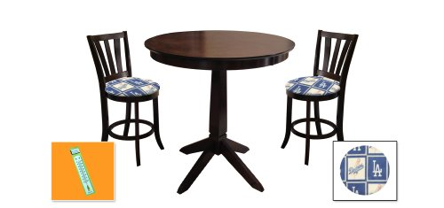 New Cappuccino / Espresso Finish Wood 3 Piece Bar Table Set includes 2 Bar Stools with Los Angeles Dodgers Theme! Also includes a free large indoor / outdoor thermometer! at Amazon.com