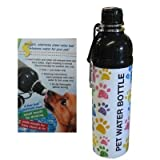 DOG WATER BOTTLE - STAINLESS STEEL- BPA FREE- PUPPY PAWS DESIGN