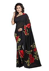 Bansy Fashion Black Coloured Georgette Printed Saree/Sari