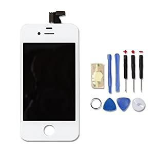 Replacement Digitizer and Touch Screen LCD Assembly for White Apple iPhone 4S (for AT&T/Verizon/Sprint iPhone 4S) + 7 Piece Tools Included