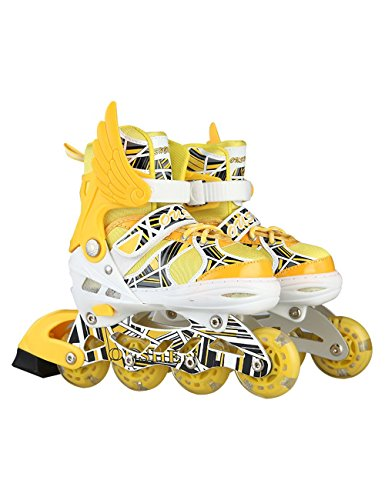 Kids Inline Roller Skates Led Adjustable Rollerblades Unisex Yellow L (Cheap Hockey Ice Skates compare prices)
